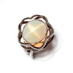 Pentafoil Ring in Sterling Silver and 22K Gold, Champagne Moonstone by Gina Pankowski