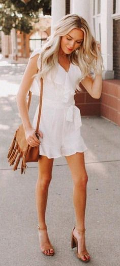 Adorable white ruffled dress with tan accessories
