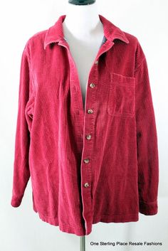 LL BEAN  Ladies XL Red Corduroy Plaid Lined Button Down Top 100% Cotton   | eBay