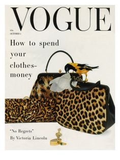 vintage Vogue cover by Richard Rutledge Oct. 1958 here we are again same fashion Anna Wintour, Vintage Vogue Covers, Animal Print Fashion, Animal Prints, Leopard Prints, Leopard Fashion, Cheetah, Vogue Magazine Covers, Mode Vintage