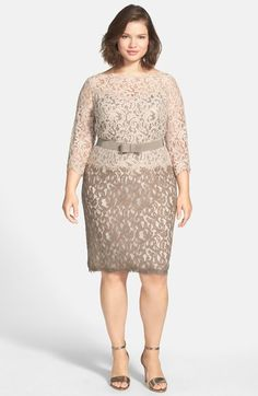 332430910a3 Tadashi Shoji Belted Lace Dress (Plus Size) available at  Nordstrom Big Size  Fashion
