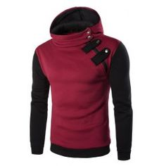Inclined Zipper Color Block Hooded Long Sleeves Hoodie For Men from $13.90 by NASTYDRESS