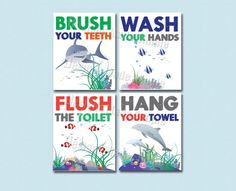 Bathroom Signs Brush Your Teeth shark, seahorse, dark skinned mermaid and fish bathroom signs-set