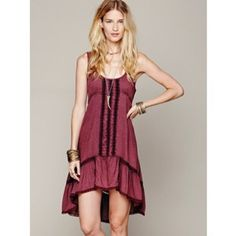Free people Parisian slip dress Gorgeous dress! Great condition. Free People Dresses High Low