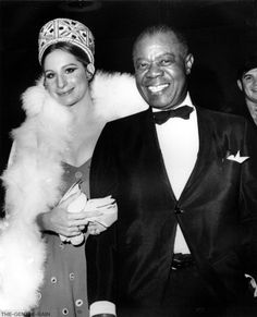 """Barbra Streisand & Louis Armstrong at the """"Hello Dolly"""" premiere in NYC, 1969."""