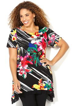 a108253ff8797 Sharkbite Tropical Floral and Diagonal Stripe Top-Plus Size Top-Avenue