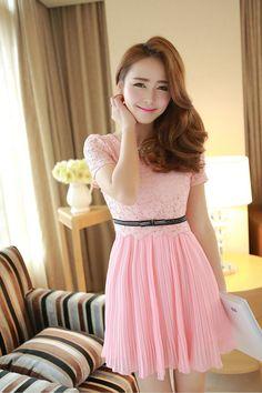 short - sleeved chiffon dress - http://zzkko.com/n145456-013-summer-sweet-crochet-openwork-lace-skirt-waist-was-thin-short-sleeved-chiffon-dress-pleated-skirt.html $16.33