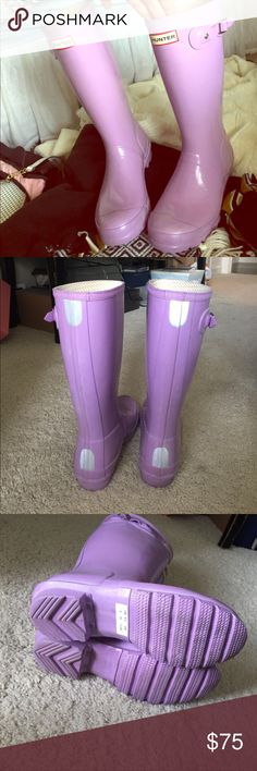 Lavender Hunter Boots Great condition! Can fit size 7-7.5! I'm a size 8 and they're a little snug but still comfortable :) they are tall but just a bit shorter (which I personally would prefer more - see last picture) Hunter Boots Shoes Winter & Rain Boots