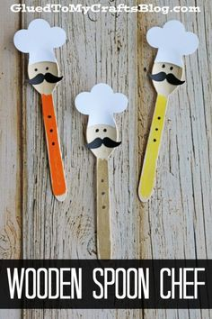 Wooden Crafts Turn an ordinary wood craft spoon into a one-of-a-kind chef themed friend today! Check out our Wooden Spoon Chef Kid Craft Glue Crafts, Craft Stick Crafts, Preschool Crafts, Diy And Crafts, Crafts For Kids, Arts And Crafts, Paper Crafts, Plastic Spoon Crafts, Wooden Spoon Crafts