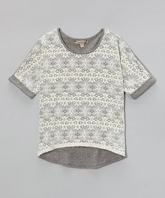 Love this Gray & Ivory Crocheted Overlay Top on #zulily! #zulilyfinds