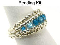 Crystal Landscape Ring Herringbone Beading Pattern Tutorial Kit | Simple Bead Kits