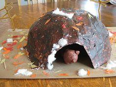 Hibernation Craft- paper mache bear cave