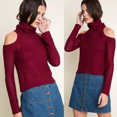 """""""Cold Zodiac"""" Knitted Turtleneck Sweater Top Cold shoulder knitted turtleneck sweater top. Available in burgundy and camel. This listing is for the BURGUNDY. Brand new. True to size. 100% rayon. NO TRADES DON'T ASK. Bare Anthology Sweaters Cowl & Turtlenecks"""