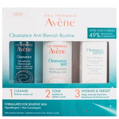Transform your blemished skin in 3 simple steps with the Avene Cleanance Anti-Blemish Expert Gift Set, a complete skincare regime that's suitable for sensitive, imperfection prone skin. Formulated to banish blackheads and breakouts, this 3 st Unclog Pores, Avene Cleanance Expert, Anti Blemish, Anti Imperfection, Lunch Boxe, Skin Products, Cleanser, Beauty, Make Up