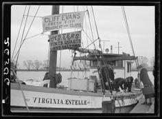 """February, 1938. """"Fishermen at the wharves. Washington, D.C.""""Rothstein, Arthur, 1915-1985, photographer.Farm Security Administration – Office of War Information Photograph Collection, Library of Congress."""