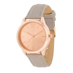 Geneva Rose Gold and Grey Leather Watch