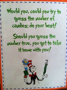 Dr. Seuss Party Game Sign 8 1/2 x 11 Birthday by mycraftcabinet, $10.00