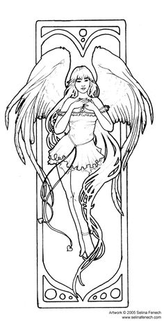 Angel of Love by Selena Fenech Angel Fantasy Myth Mythical Legend Wings Warrior Valkyrie Anjos Goth Gothic Coloring pages colouring adult detailed advanced printable Kleuren voor volwassenen coloriage pour adulte anti-stress kleurplaat voor volwassenen