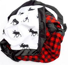 Baby Blanket Gorgeous Buffalo Plaid Moose by LoveAndLullabiesCB