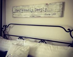 Over the Bed Pallet Sign Rustic Customized by BeLovedUpcycled