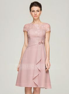 [US$ 134.49] A-Line/Princess Scoop Neck Knee-Length Chiffon Lace Mother of the Bride Dress With Beading Flower(s) Sequins Cascading Ruffles (008062576)