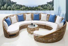sofá redondo de mimbre moderno