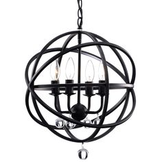 "Benita Antique Black Metal Sphere 4-light Crystal Chandelier 16x19""  $122.39  Ebay"