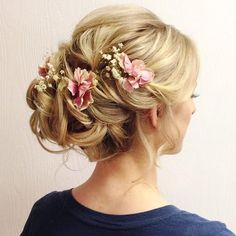 Romantic updo, formal hairstyles, bridesmaid hair with flowers, bridal hair Romantic Updo, Romantic Hairstyles, Formal Hairstyles, Bride Hairstyles, Pretty Hairstyles, Hairstyle Ideas, Chignon Hairstyle, Flower Hairstyles, Bridesmaids Hairstyles