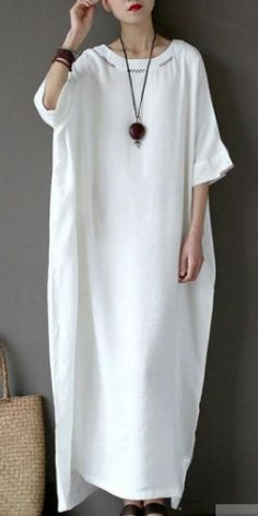 stylish cotton linen maxi dress plus size clothing Women Flax Cotton linen 12 Sleeve Embroidery White Dress Half Sleeve Dresses, Plus Size Maxi Dresses, Plus Size Outfits, Stylish Dresses, Casual Dresses For Women, Clothes For Women, Latest African Fashion Dresses, Summer Dress Outfits, Cotton Linen