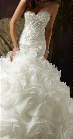 Sweetheart Wedding Dress,Real Made Wedding Dress,Mermaid Wedding Dress,Ruffles Wedding Dress