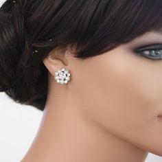 Swarovski Pearl Stud Earrings Bridal earrings by LuluSplendor