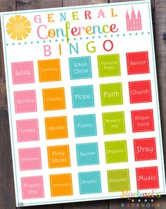 LDS General Conference Activity - Bingo! - Rachael's BookNook  Free download, laminate or put in page protectors to use over and over again!