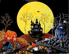 Cross Stitch Kit  Halloween Counted Cross Stitch by Abracraftdabra, $71.96