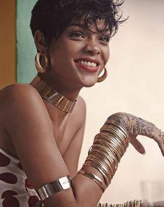 Rihanna in Vogue Brazil May 2014 wearing Burberry Prorsum polka dot shirt