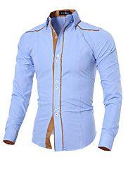 9a3a8bb28b Masculino Camisa Casual Cor Solida Manga Comprida Algodão   Poliéster Preto    Azul   Branco Camisas