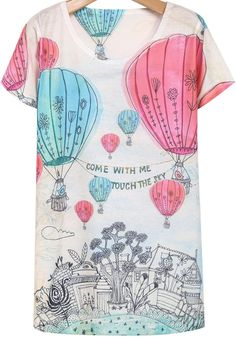 this is sweet!  White Short Sleeve Balloon Print T-Shirt 11.90
