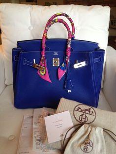 Hermes 35 Birkin Bleu Electrique Togo Leather Blue Jean~~gorgeous~~