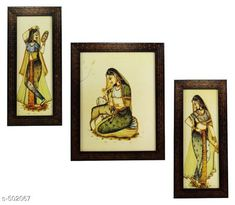 Paintings & Posters Rajastani Paintings (Set Of 3) Material: Wood & Plastic Size: (L x W) - Frame 1 - 5.2 in x 12.5 in Frame 2 - 9.5 in x 12.5 in Frame 3 - 5.2 in x 12.5 in Description: It Has 3 Pieces Of Wall Paintings Work: Printed Note: Glass Not Included Country of Origin: India Sizes Available: Free Size   Catalog Rating: ★4.1 (490)  Catalog Name: Spiritual Wall Paintings Vol 20 CatalogID_55286 C127-SC1611 Code: 123-502067-756