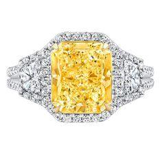 'Henriette' - Three Stone Split Shank Canary Diamond Engagement Ring