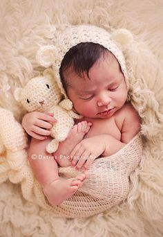 Newborn Bonnet Teddy Bear Set baby boy by handsomeboyboutique, $42.00