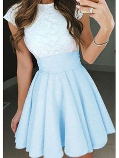 42e17f61f49 Cute Two Pieces Lace Top Cap Sleeves Short Homecoming Dresses