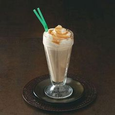 Caramel Macchiato Floats:  *I leave out the coffee & sugar.  Stripe the glass with caramel sauce.  Add ice-cream and cold caramel-flavored milk.  Top with whipped cream & a swirl of caramel sauce.