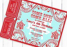 Circus Invitation Carnival Invitation Carousel Invitation with Tickets Carousel Themed Birthday, Carousel Party, Carnival Birthday, Circus Theme, Circus Party, Circus Circus, First Birthday Parties, Birthday Party Themes, First Birthdays