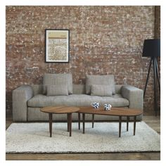 Living room home decor inspiration. Free Standing Lamps, London Wall, Living Room Lounge, Exposed Brick Walls, Gray Sofa, Rooms Home Decor, Leather Fabric, Home Decor Inspiration, Wall Prints