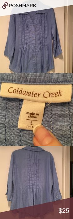 Coldwater Creek 100% linen top Linen top from Coldwater Creek.  Sky blue in color. Coldwater Creek Tops Blouses