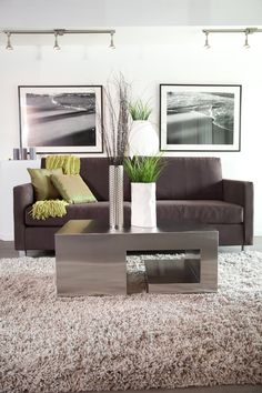 living room with dark brown sofa, cream shag area rug, modern steel coffee table. With accents of green throw pillows, green blanket and tall vases. At The Block by Avi Urban.