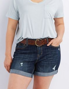 Plus Size Belted Denim Shorts