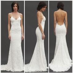 New Sex Lace Wedding Dress Low Back Spaghetti Strap Custom Made D1111