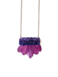 Hand-embroidered Velvet Geometric Rectangle with Purple Feathers Pendant Statement Necklace