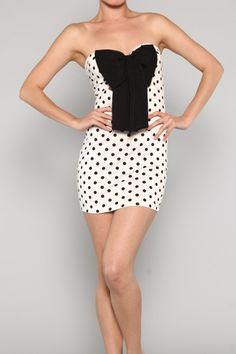 Polka Dot mini dress with bow